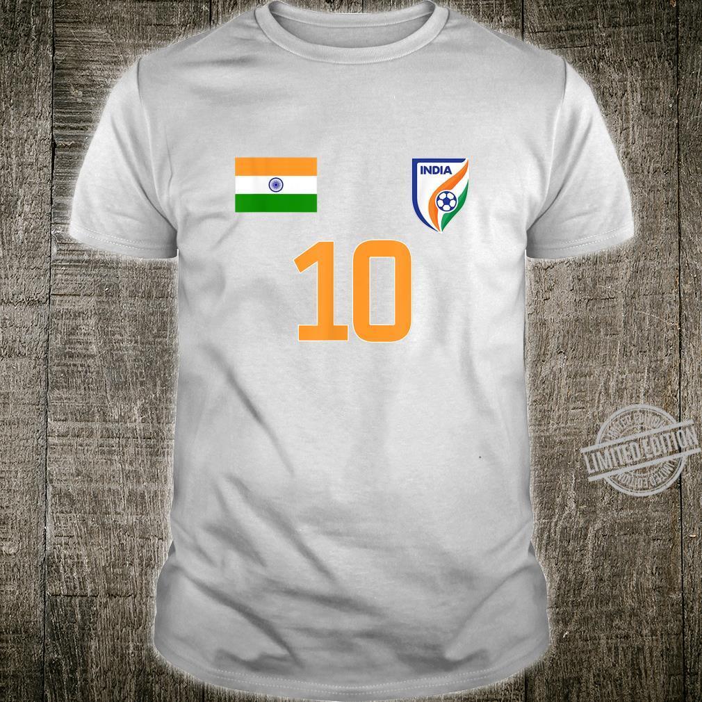 India Football Team Nr. 10 Print on Back Soccer Fan India Shirt